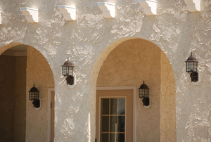 Stucco on house exterior