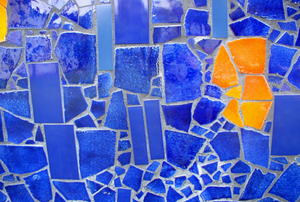 blue and yellow mosaic tile
