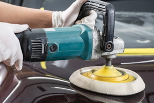 buffing and polishing a car