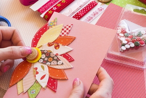 scrapbooking with bright colorful materials