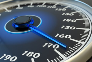 a speedometer reading 165