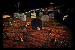 A front yard turned into a graveyard.