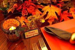 A Thanksgiving place setting.