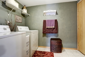 A decorated laundry room.