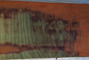 Stained wood veneer finish