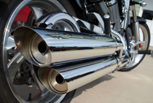 Dual chrome exhaust on a motorcycle