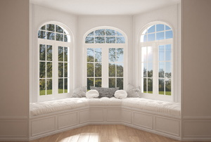 alcove with large windows and window seat