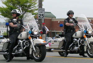 Two policemen on motorcycles