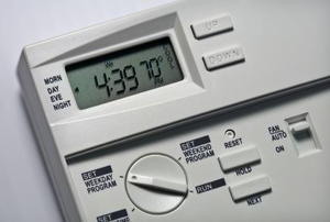 A close-up of a thermostat.