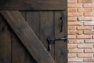A sliding barn door.