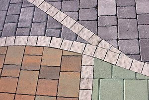 A variety of paver stones laid out
