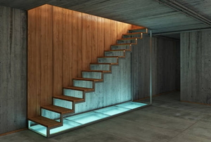 Glass and wood basement stairs