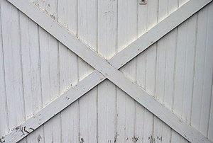 old, white sliding barn door
