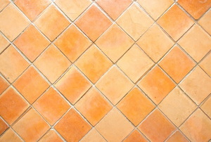 Clay shower tile with a light calcium buildup.