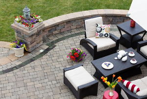 paver patio with furniture set