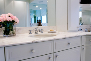 grey bath cabinet vanity with white countertop