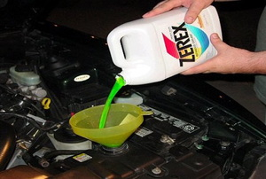 Radiator Fluid being poured
