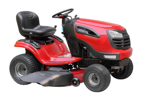 A red and black riding lawn mower.