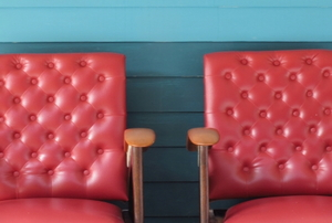 two red leather chairs
