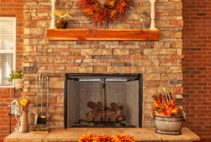 A fireplace mantel.