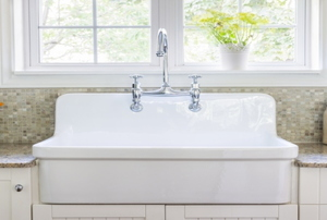 A farmhouse style kitchen sink