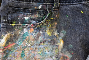 Jeans with a paint stain.