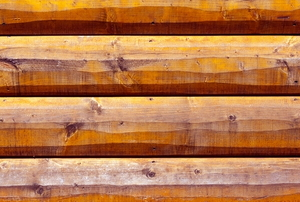 A close up on log siding.