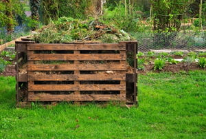 Wooden pallet compost bin for organic waste in a garden.