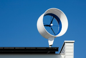 A ducted wind turbine on a residential roof.