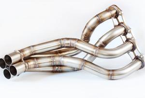 An exhaust manifold.