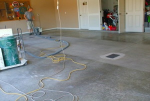 finishing a concrete floor in a large room