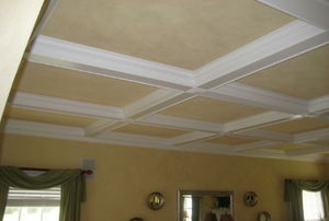 A coffered ceiling.