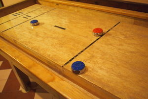 A shuffleboard table.