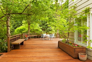 A backyard wood deck surrounded by bright green trees.
