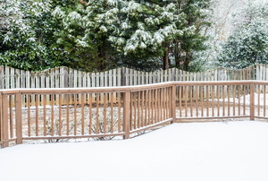A deck in the winter.
