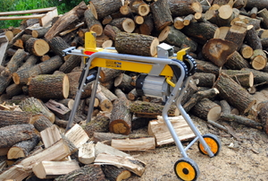 A log splitter next to a pile of cut wood.