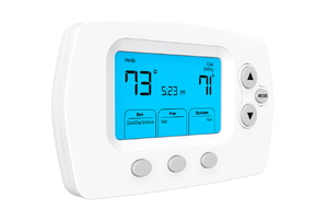 Wall thermostat set at 73 degrees