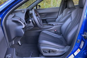 interior of the front of a blue car