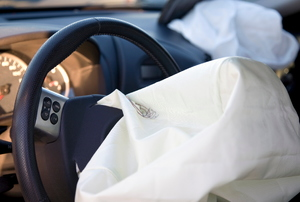 An airbag in a car.