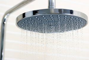 water falling from a rain-style shower head