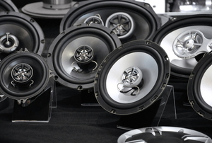 Various types of auto speakers are on display
