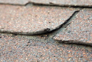 Old asphalt shingles starting to pull away from the roof.