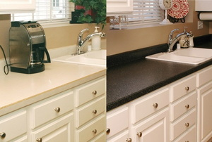 Before and after counter refinishing.