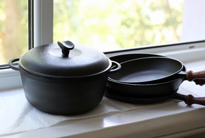 Cast iron pots and pans.