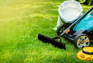 lawncare supplies on grass