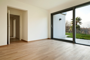 A room with sliding doors.