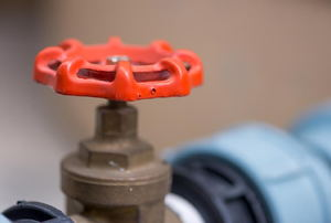 A red gas shutoff valve.