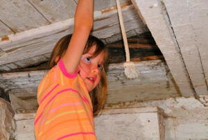 A little girl pushing an old attic door open with one hand.