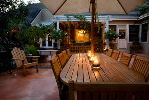 dining set on a patio