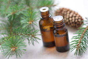 Two bottles of fragrance oil with scattered pine needles around them.